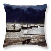 Thai Beach People Collecting Throw Pillow