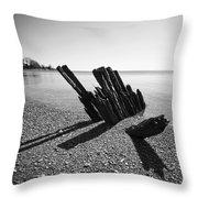 Beach Pilings Throw Pillow