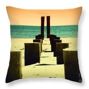 Beach Pylons Throw Pillow