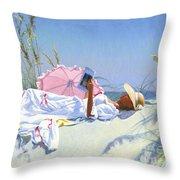 Beach Recliner Throw Pillow