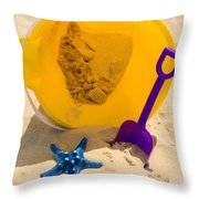 Beach Sand Pail And Shovel Throw Pillow