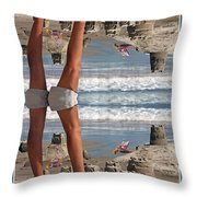 Beach Scene Throw Pillow by Betsy Knapp