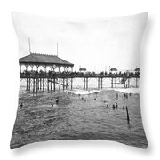 Beach Scene In Lima Throw Pillow