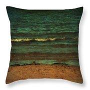 Beach Scene Ocean Waterfront Photograph Print Throw Pillow by Laura Carter