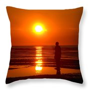 Beach Sculpture At Crosby Liverpool Uk Throw Pillow