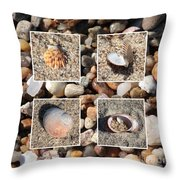 Beach Shells And Rocks Collage Throw Pillow by Carol Groenen