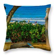 Beach Shower Throw Pillow