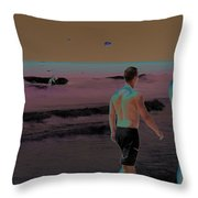 Beach Solar Series Xi Woman Swimming Usa Throw Pillow