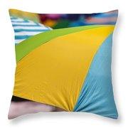 Beach Umbrella Rainbow 1 Throw Pillow