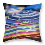 Beach Umbrella Rainbow 2 Throw Pillow