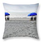 Beach Umbrellas On A Cloudy Day Throw Pillow