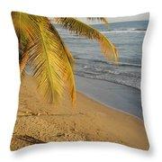 Beach Under Golden Palm Throw Pillow