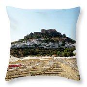Beach View Of Lindos Throw Pillow