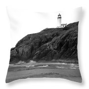 Beach View Of North Head Lighthouse Throw Pillow by Robert Bales