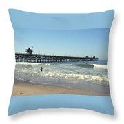 Beach View With Pier 2 Throw Pillow by Ben and Raisa Gertsberg