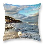 Beach Walk In Winter Throw Pillow