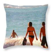 Beach Walkers Throw Pillow