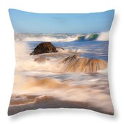 Beach Waves Smoothly Flowing Over The Rocks Fine Art Photography Print Throw Pillow