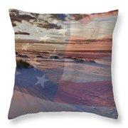 Beach With Flag Throw Pillow