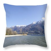 Beach With Mountain Throw Pillow