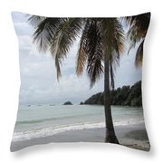 Beach With Palm Tree Throw Pillow