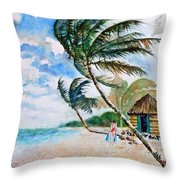 Beach With Palm Trees Throw Pillow