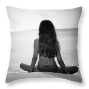 Beach Yoga Throw Pillow