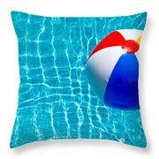 Beachball On Pool Throw Pillow