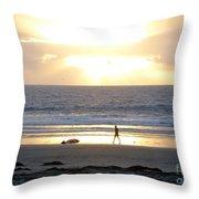Beachcomber Encounter Throw Pillow
