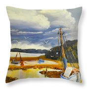 Beached Boat And Fishing Boat At Gippsland Lake Throw Pillow