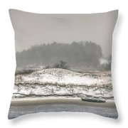 Beached Boat Winter Storm Throw Pillow