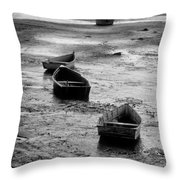Beached Boats Throw Pillow
