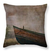 Beached Dinghy Throw Pillow