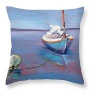 Beached Sailboat At Mooring Throw Pillow