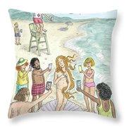 Venus On The Beach Throw Pillow