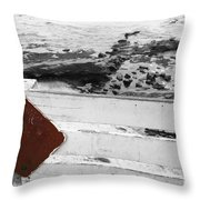 Beachside Warning Horizontal Bw With Colorized Red Sign Throw Pillow