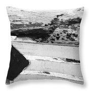 Beachside Warning Horizontal Grayscale Throw Pillow