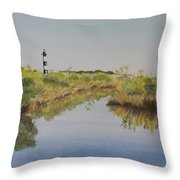Beacon On The Marsh Throw Pillow