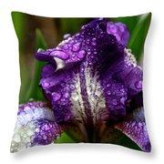 Beaded Iris Throw Pillow