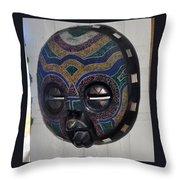 Handbeaded Mask Mexico Throw Pillow