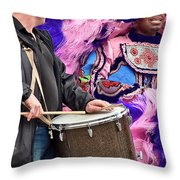 Beads And Feathers At Mardi Gras Throw Pillow