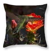 Beak Deep In Nectar  Throw Pillow
