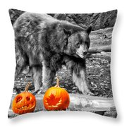 Bear And Pumpkins Too Throw Pillow