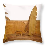 Bear Between Two Trees Throw Pillow