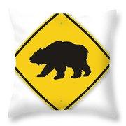 Bear Crossing Sign Throw Pillow