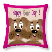 Bear Day Card Throw Pillow
