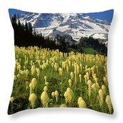 Bear Grass At Mt. Rainier - V Throw Pillow