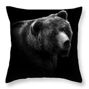 Portrait Of Bear In Black And White Throw Pillow