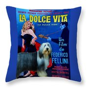 Bearded Collie Art Canvas Print - La Dolce Vita Movie Poster Throw Pillow