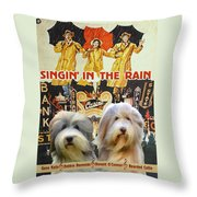Bearded Collie Art Canvas Print - Singin In The Rain Movie Poster Throw Pillow